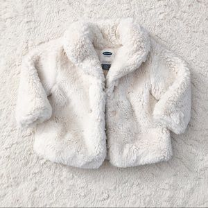 Old Navy White Faux Fur Baby Coat 6-12 Months